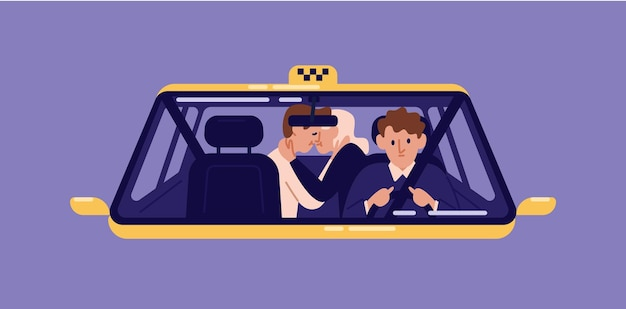 Para klientów całujących się na tylnym siedzeniu taksówki i kierowca widziany przez przednią szybę. mężczyzna i kobieta w miłości, korzystając z serwisu samochodowego. romantyczna para w taksówce. ilustracja wektorowa w stylu cartoon płaski.