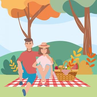Para kobieta i mężczyzna ma piknik