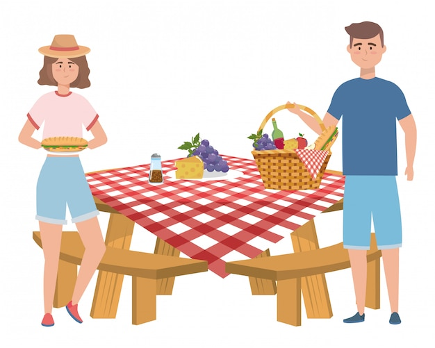 Para kobiety i mężczyzny o piknik