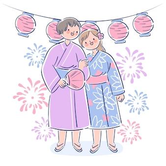 Para korzystających z letniego festiwalu matsuri