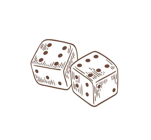 Para kości leżących z szóstkami na górnej stronie narysowanej konturami na białym tle. rzucane urządzenie hazardowe do gier stołowych, planszowych i kasynowych. symbol szczęścia. ilustracja wektorowa.