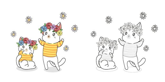 Para kotów z kwiatem w kreskówka dzień wiosny
