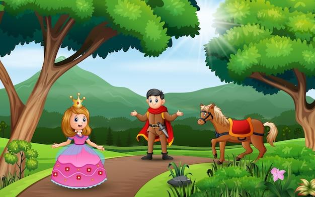 Para książę i księżniczka bawiące się na łonie natury