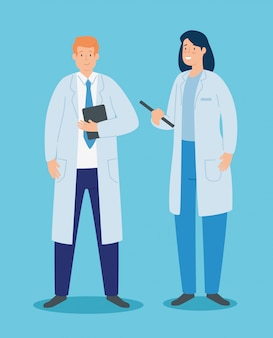 Para lekarzy z fartuchem i dokumentami