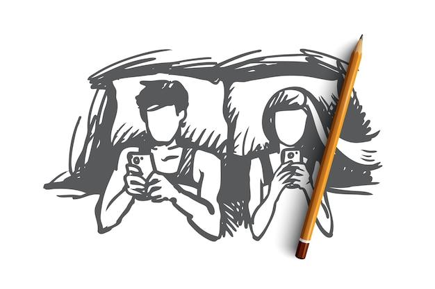 Para, łóżko, smartfon, uzależniona koncepcja. ręcznie rysowane para mężczyzna i kobiety leży w łóżku i patrząc na szkic koncepcji smartfonów.