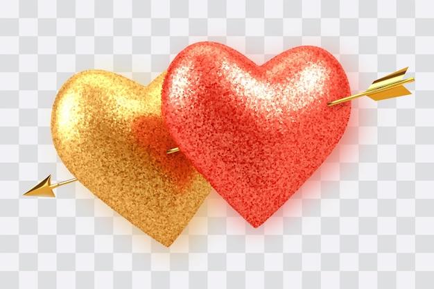 Para lśniących realistycznych czerwonych i złotych balonów w kształcie serca z brokatową teksturą przebitą złotą strzałą amorek na przezroczystym tle