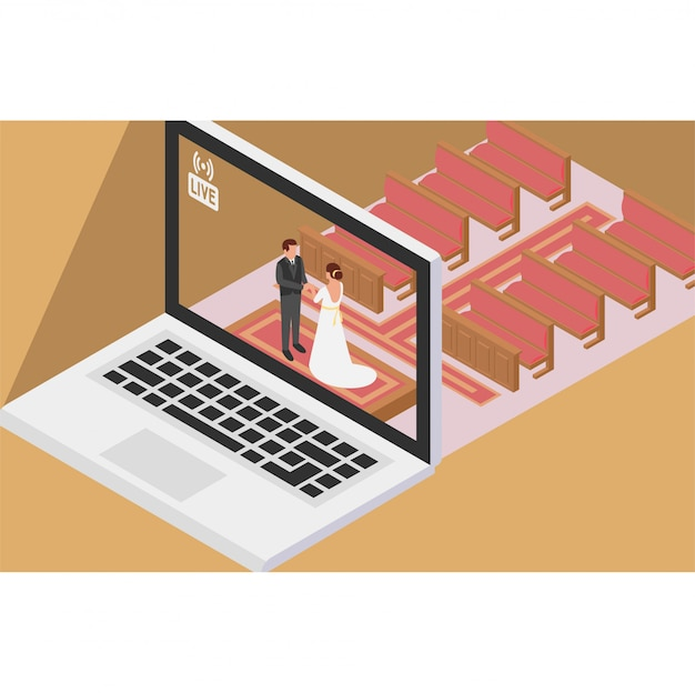 Para ma ceremonię ślubną online w kościele i pokazuje to na żywo przez internet
