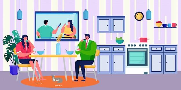 Para ma śniadanie w domu wpólnie, ilustracja. mężczyzna kobieta ludzie charakter przy stole jeść jedzenie. szczęśliwa romantyczna kolacja
