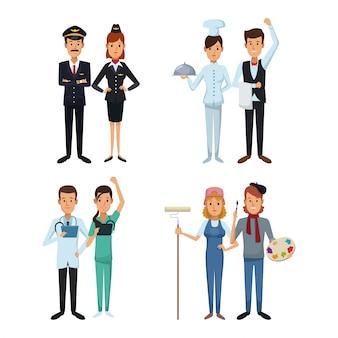 Para mężczyzn i kobiet ustawić ludzi różnych zawodów