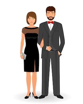 Para mężczyzn i kobiet w eleganckich ubraniach na oficjalne imprezy towarzyskie. kod ubioru czarnego krawata. koktajlowe ubrania wieczorowe.