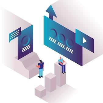 Para mężczyzn i wykresy z szablonami odtwarzacza multimedialnego wektorowego projektowania ilustracji