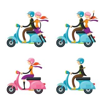 Para, mężczyzna, kobieta, jazda na skuterze