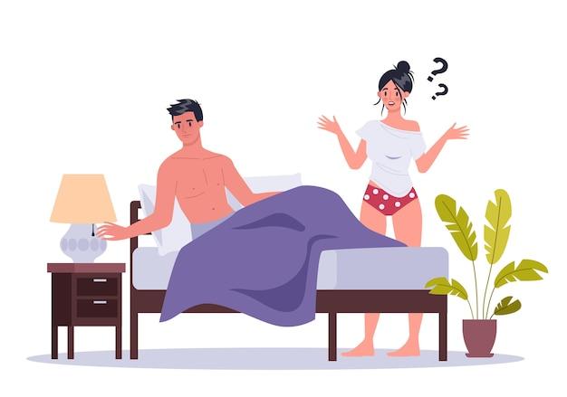 Para mężczyzny i kobiety, leżąc w łóżku. pojęcie seksualnego lub intymnego problemu między partnerami romantycznymi. nieatrakcyjność seksualna i niezrozumienie zachowania.