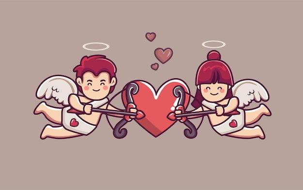 Para miłości amorek chłopak i dziewczyna trzyma strzałę i łuk