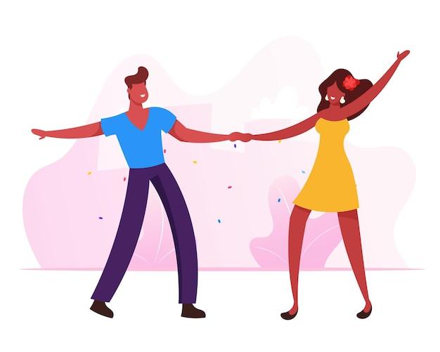 Para młoda dziewczyna i mężczyzna odwiedzający studio tańca w brazylii. płaskie ilustracja kreskówka