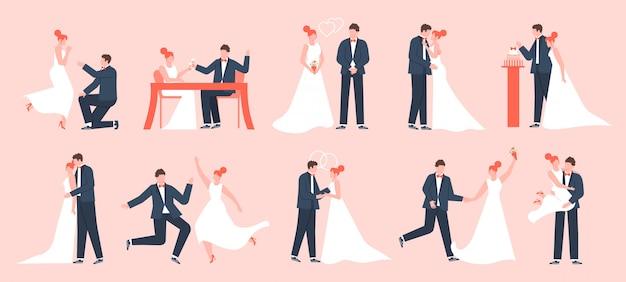 Para młoda. małżeństwo narzeczeni, zakochani nowożeńcy, młoda rodzina tańczy i świętuje, zestaw ilustracji ceremonii ślubnej. panna młoda i pan młody, miłość ślubna małżeństwo, sukienka nowożeńców