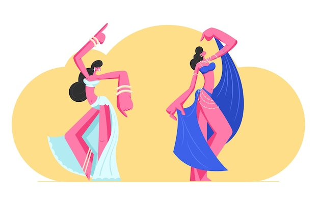 Para młodych dziewcząt w pięknych arabskich sukienkach i biżuterii tańczy taniec brzucha z wzniesionymi rękami