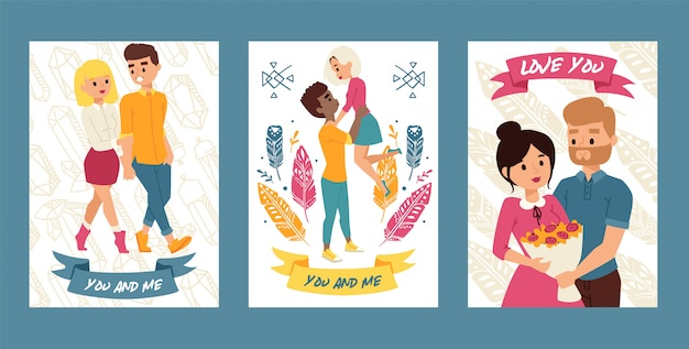 Para młodych ludzi idących razem zestaw kart, plakaty. ty i ja. kocham cię. chłopiec trzyma dziewczynę. mężczyzna przedstawia wiązkę