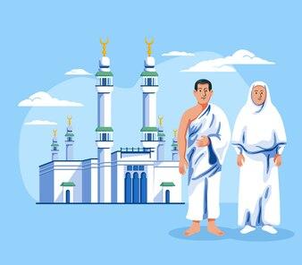 Para muzułmańska pielgrzym pozycja przed Masjid Al Haram.