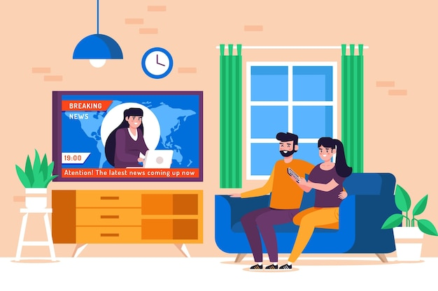 Para na kanapie oglądając wiadomości