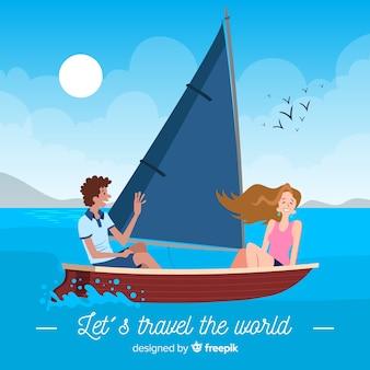 Para na tle podróży łodzi