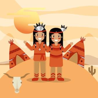 Para native american w tradycyjnych strojach