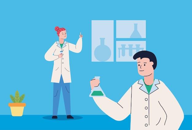 Para naukowców z probówkową szczepionką badawczą