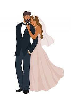 Para nowożeńców na białym tle