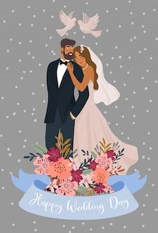 Para nowożeńców z gołębiami i wstążką