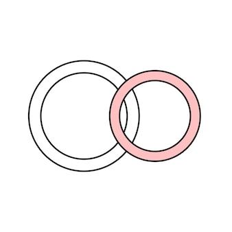 Para obrączek ślubnych młodej pary. biżuteria. prosty ślub ikona. doodle ilustracja wektorowa