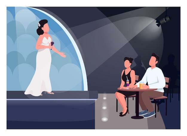 Para oglądać wydajność płaski kolor. piosenkarka na scenie. mężczyzna i kobieta siedzą przy stole i słuchają muzyki na żywo. miłośnicy postaci z kreskówek 2d z salą koncertową w tle