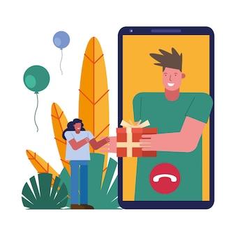 Para otwierając prezenty w projektowaniu ilustracji wektorowych znaków smartfona sceny