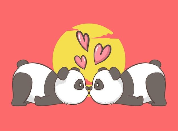 Para panda całuje z sercem na czerwonym tle