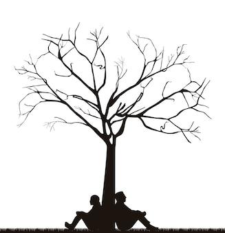 Para pod drzewo ove białe tło wektor ilustracja