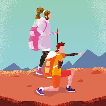 Para podróżnik w postaci awatara krajobrazowego