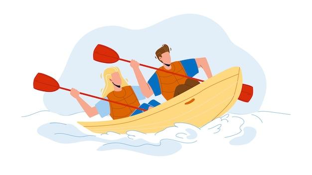 Para podróżująca kajakiem
