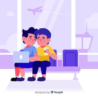 Para podróżujący ręka rysujący styl