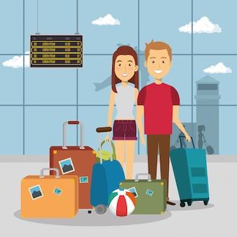 Para podróżujących na lotniskach
