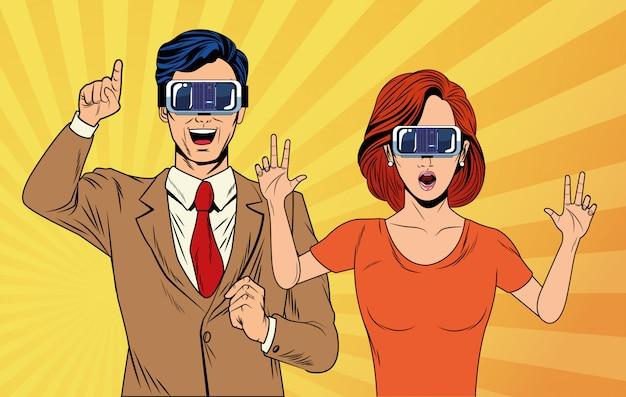 Para pop art za pomocą okularów wirtualnej rzeczywistości