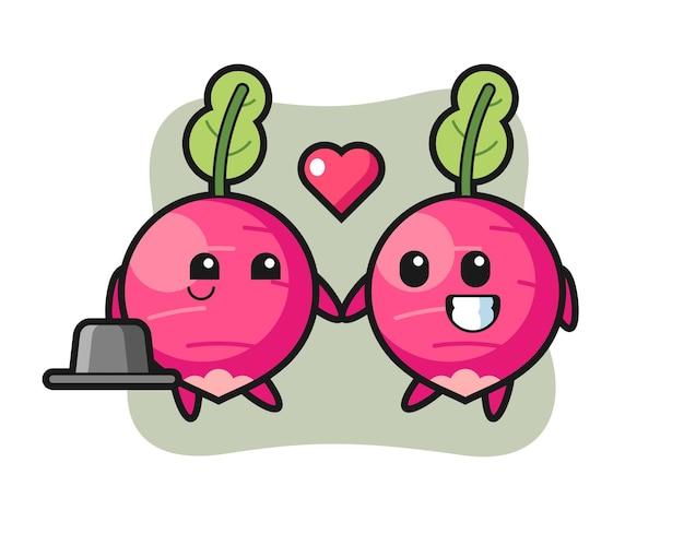 Para postaci z kreskówek rzodkiewki z gestem zakochania, ładny styl na koszulkę, naklejkę, element logo