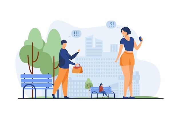 Para poznaje w parku miejskim. mężczyzna wracający zapomnianą torbę do kobiety płaskie wektor ilustracja. znajomość w miejscu publicznym, randki