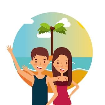 Para przytulanie w letnie wakacje na plaży