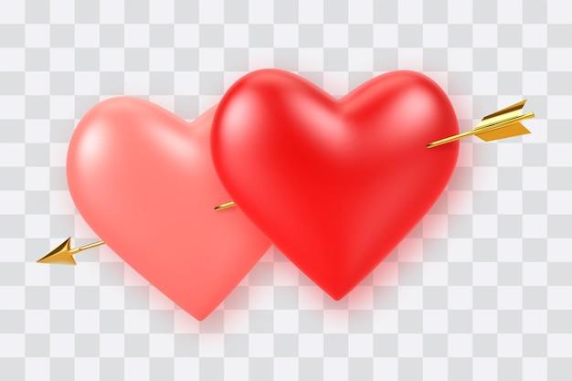 Para realistycznych 3d czerwonych i różowych balonów w kształcie serca przebitych przez amorek złotą strzałką na przezroczystym tle
