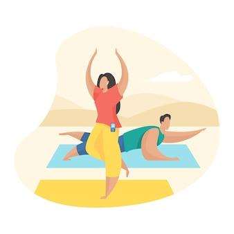 Para robi ćwiczenia jogi na świeżym powietrzu. postaci z kreskówek płci męskiej i żeńskiej robi zajęcia fitness na świeżym powietrzu. sport zdrowy styl życia. płaska ilustracja wektorowa