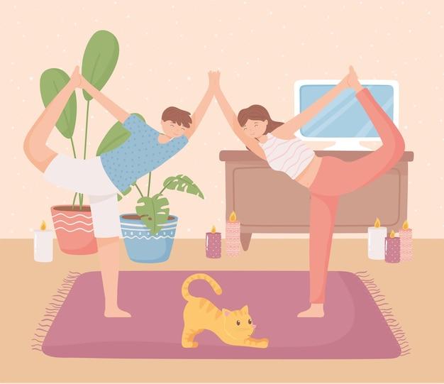 Para robiąca jogę w domu