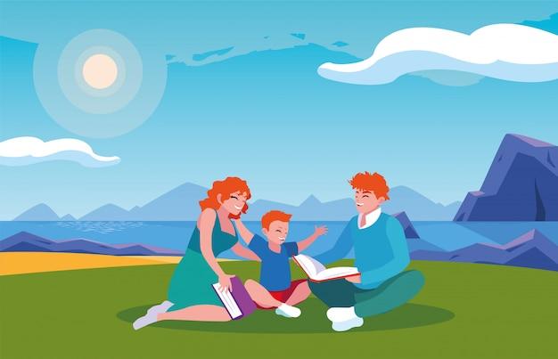 Para rodzice i syn z tło krajobrazem