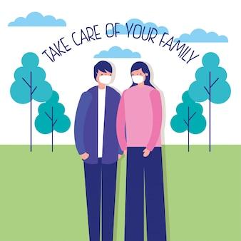 Para rodziców używa masek na twarz w obozowej ilustraci