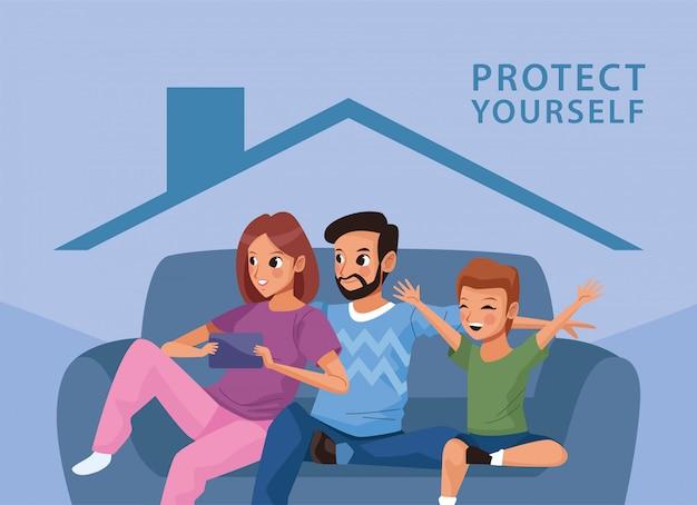 Para Rodziców Z Synem Zostaje W Domu Premium Wektorów
