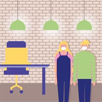 Para rodziców za pomocą masek na twarz w biurze ilustracji