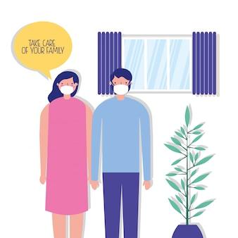 Para rodziców za pomocą masek na twarz w domu ilustracji